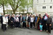 Members of Salisbury Saintes Twinning Association, hosts and friends gathered outside the Abbaye aux Dames in Saintes before returning home.